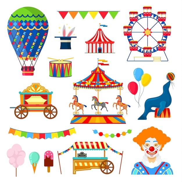 Iconos de circo y diversión Vector Premium