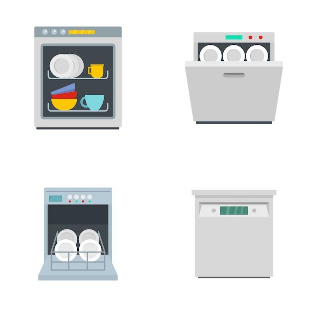 Los iconos de la cocina de la máquina del lavaplatos fijaron estilo plano Vector Premium