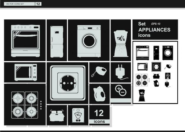 Iconos de la colección del vector. electrodomésticos utensilios de cocina vector gratuito