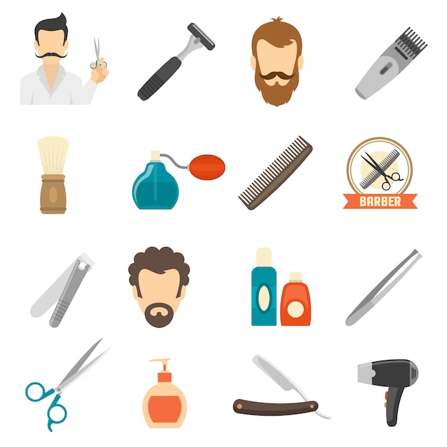 Iconos de color barbero vector gratuito