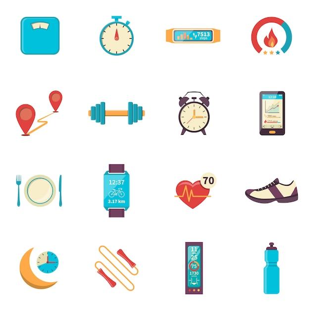 Iconos de color plano rastreador de fitness vector gratuito