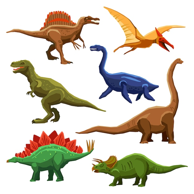 Iconos de colores de dinosaurios iet vector gratuito