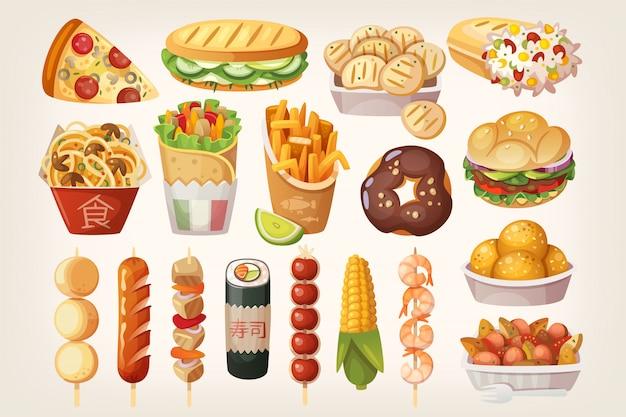 Iconos de comida callejera Vector Premium