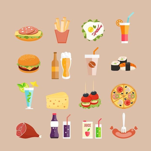 Iconos de comida. comida rápida, bebidas y panecillos en estilo plano. vector gratuito