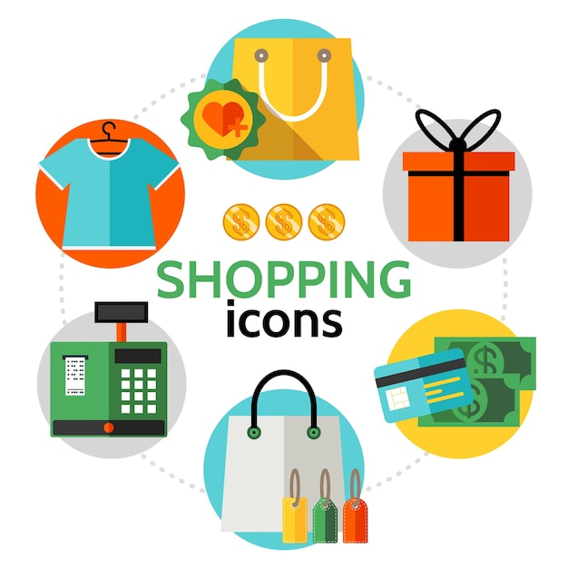 Iconos de compras planas concepto redondo vector gratuito