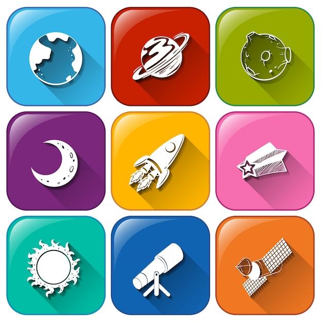 Iconos con objetos encontrados en el espacio exterior Vector Gratis