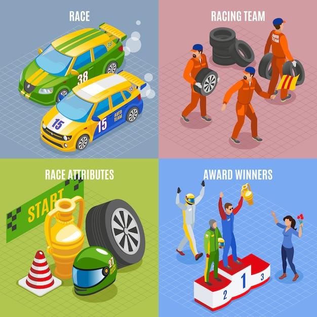 Iconos de concepto deportivo de carreras con equipo de carreras y símbolos de ganadores de premios isométricos aislados vector gratuito