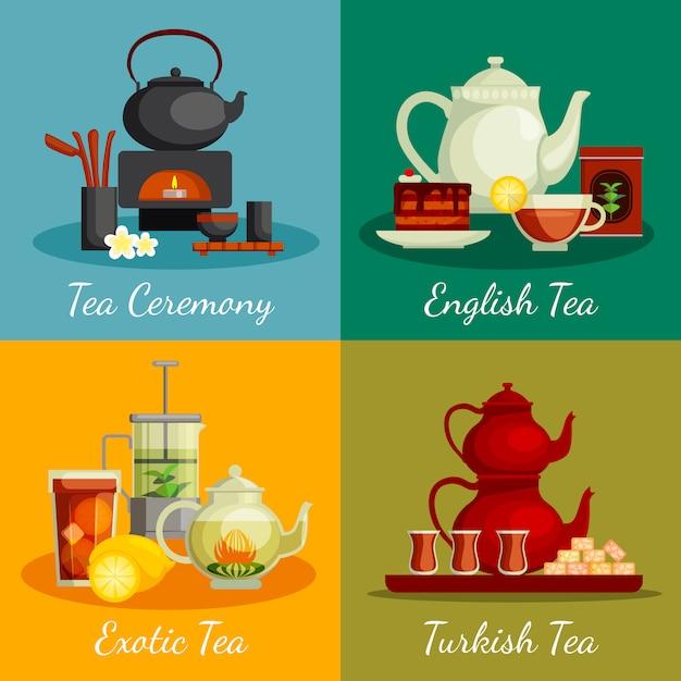 Iconos de concepto de té con símbolos de la ceremonia del té vector gratuito
