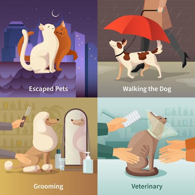 Los iconos del concepto de la tienda de animales fijaron con el ejemplo aislado plano del vector de los símbolos de la preparación vector gratuito