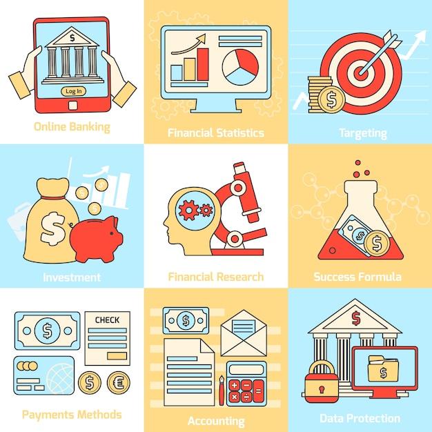 Iconos de conceptos financieros establecidos línea plana vector gratuito