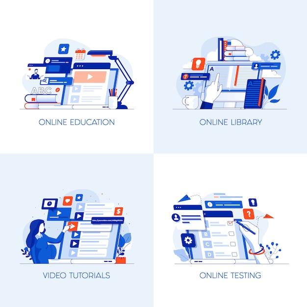 Iconos conceptuales planas Vector Premium
