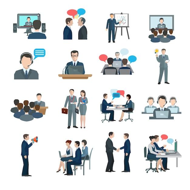 Iconos de conferencia planos vector gratuito