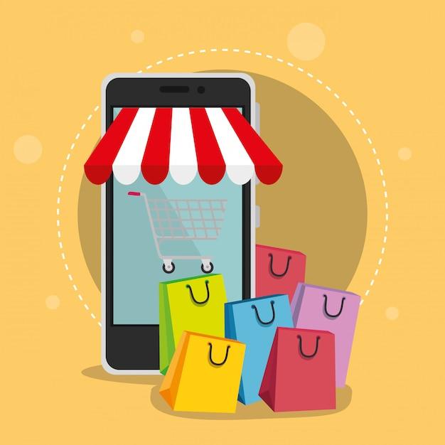 Iconos de conjunto de comercio electrónico vector gratuito