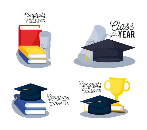 Iconos de conjunto de tarjeta de graduación clase Vector Premium