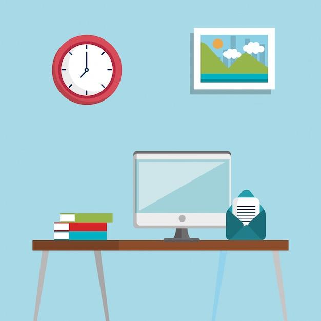 Iconos de conjunto de ubicación de lugar de trabajo vector gratuito
