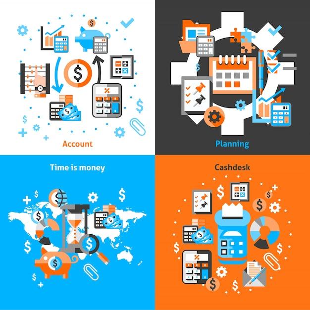 Iconos de contabilidad establecidos planos vector gratuito