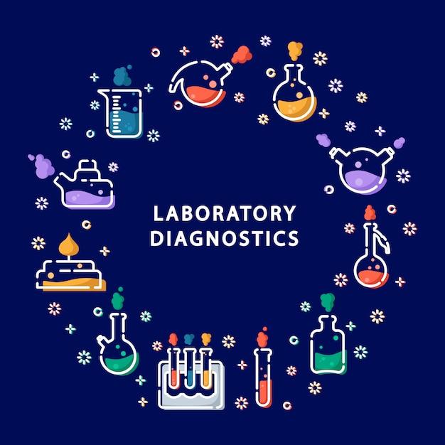 Iconos de contorno en marco redondo: matraz de laboratorio, vaso medidor, tubo de ensayo, experimento científico Vector Premium