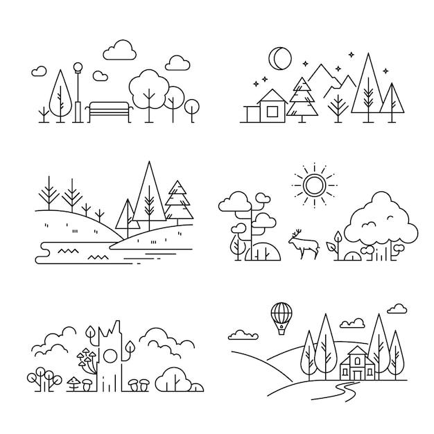 Iconos de contorno de paisaje de naturaleza Vector Premium