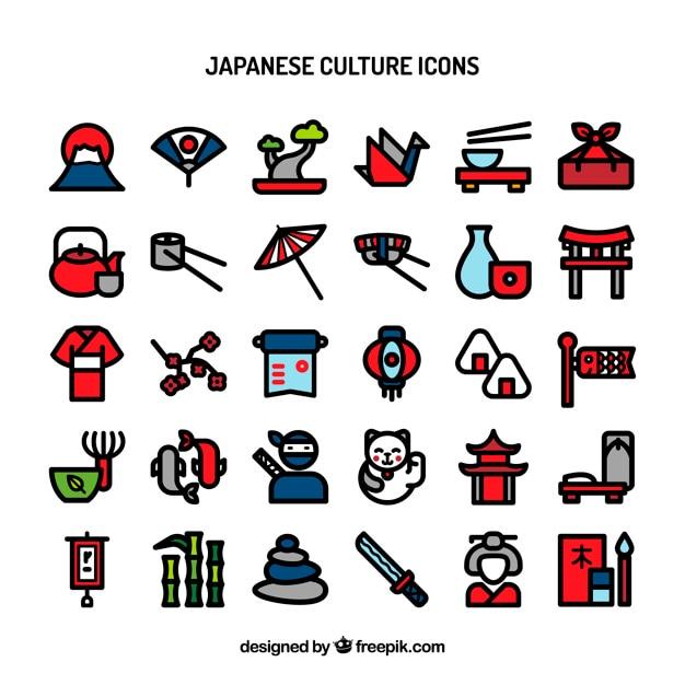 Iconos de la cultura japonesa vector gratuito