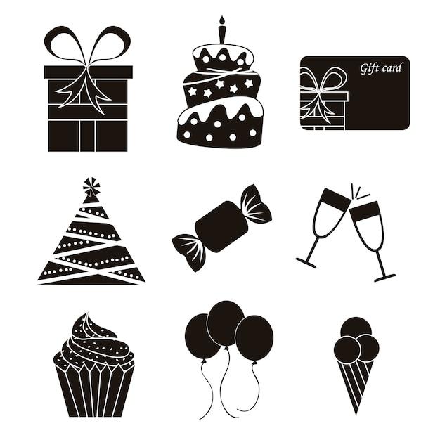 Iconos de cumpleaños negro sobre fondo blanco ilustración vectorial Vector Premium
