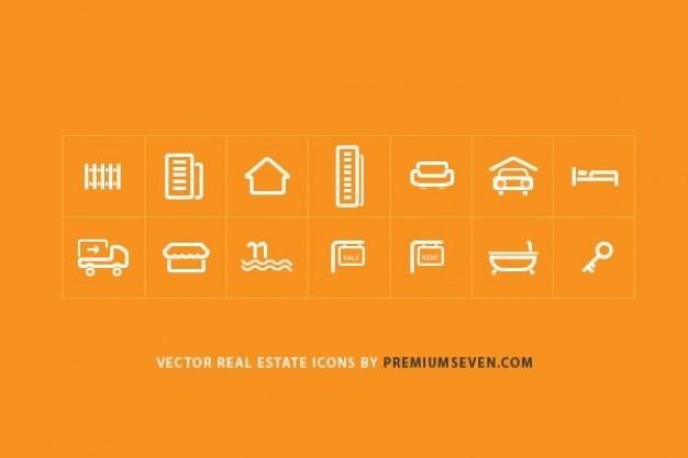 Iconos de bienes raíces para sitios web Vector Gratis
