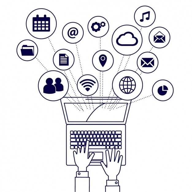 Iconos de elementos de un portátil Vector Gratis