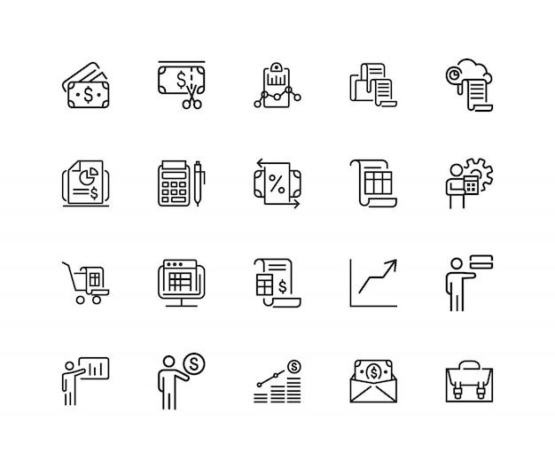 Iconos de inversión. conjunto de iconos de veinte líneas. informe ...