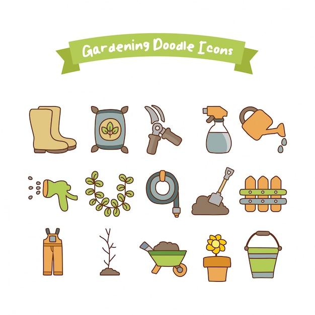 Iconos de jardiner a doodle descargar vectores premium for Imagenes de jardineria gratis