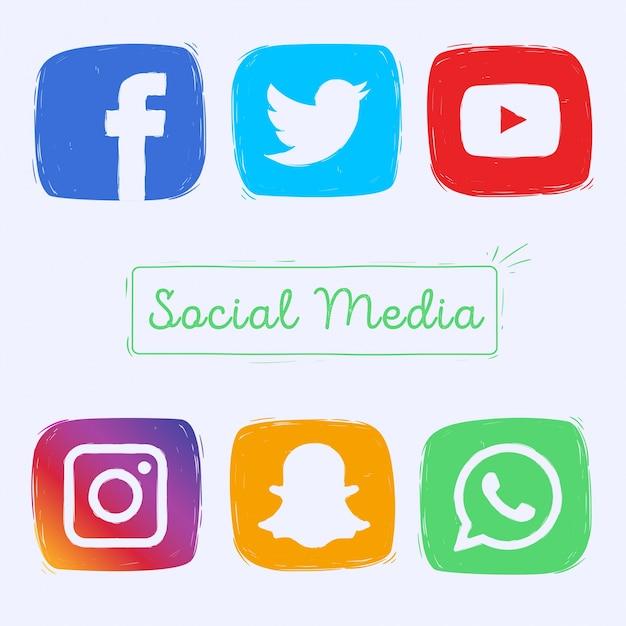 Iconos de redes sociales dibujados a mano Vector Gratis