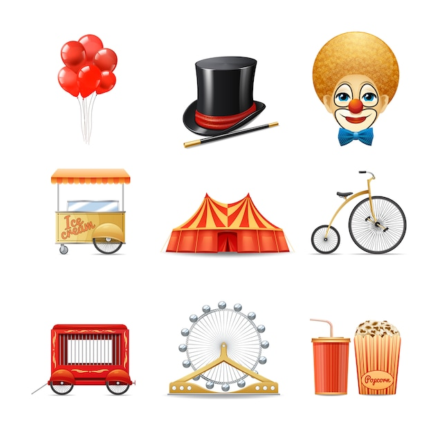 Los iconos decorativos del circo fijaron con la bici realista de la tienda de la carpa del payaso aislada vector gratuito
