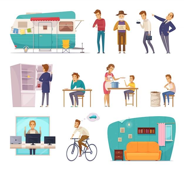 Iconos decorativos de clases sociales de personas vector gratuito