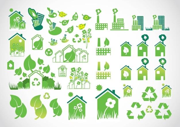iconos del medio ambiente Vector Gratis