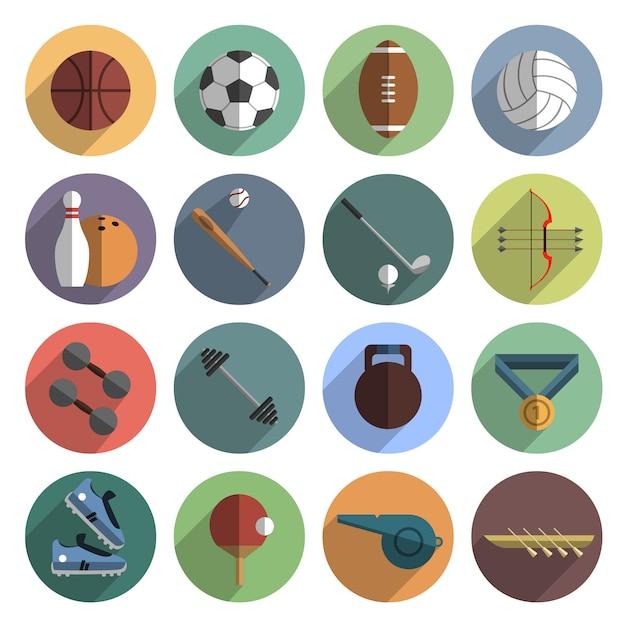Iconos del deporte conjunto sombra plana vector gratuito