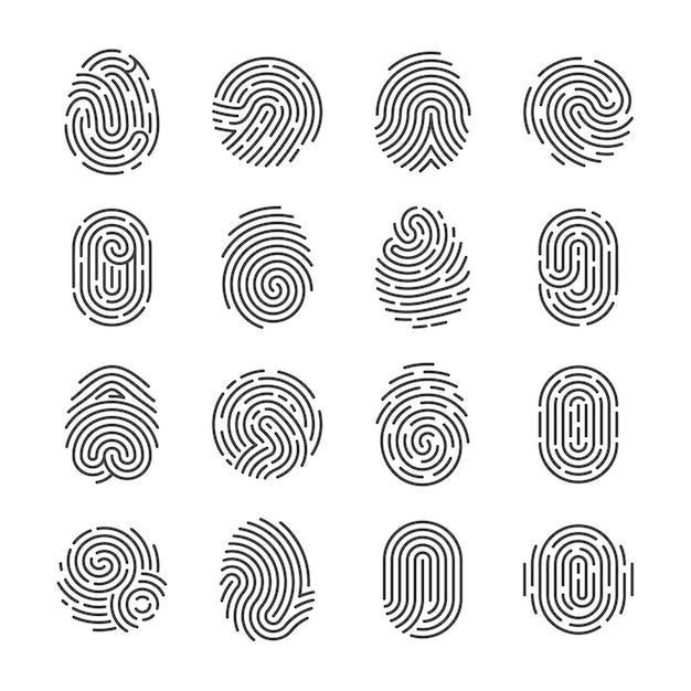 Iconos detallados de huellas dactilares. escáner de policía pulgar símbolos vectoriales. identidad de la persona de seguridad id pictogramas. dedo identidad, tecnología biométrica. Vector Premium