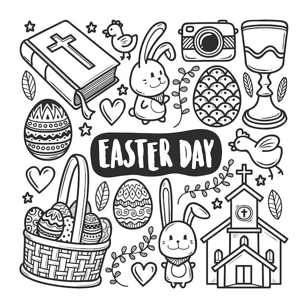 Iconos Del Dia De Pascua Dibujado A Mano Doodle Para Colorear