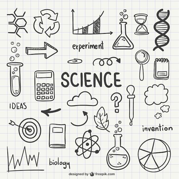 Iconos dibujados de ciencia vector gratuito