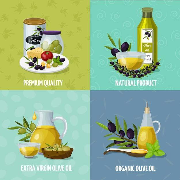 Iconos de dibujos animados de aceite de oliva 4 vector gratuito