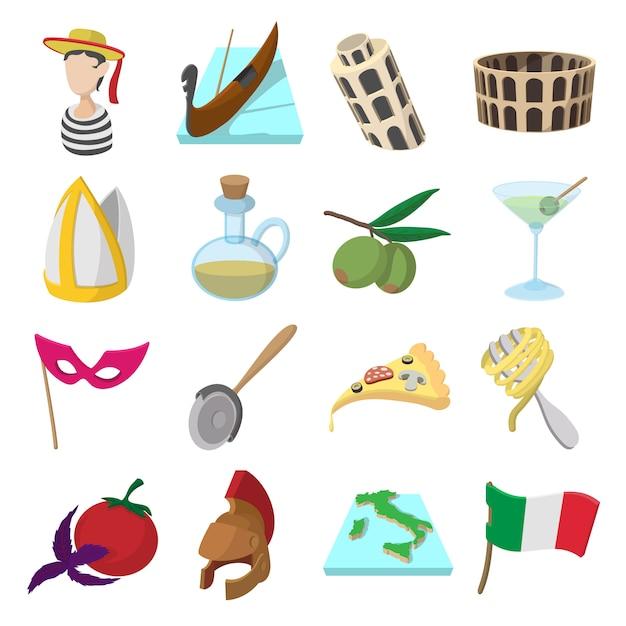 Iconos de dibujos animados de italia para web y dispositivos móviles Vector Premium