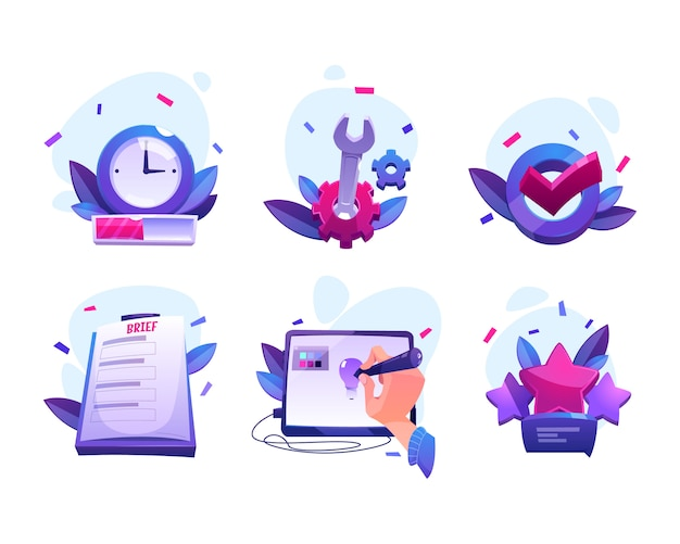 Iconos de dibujos animados del proceso de trabajo del diseñador vector gratuito