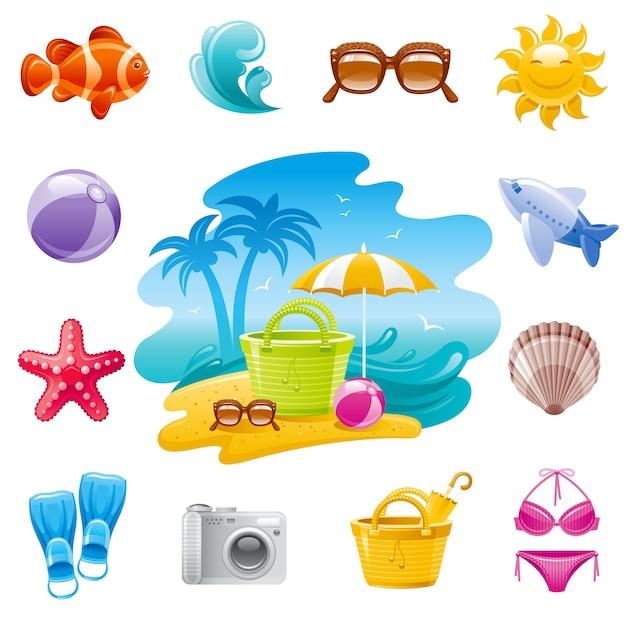 Iconos de dibujos animados de viajes por mar. vacaciones de verano con paisaje, peces tropicales, gafas de sol, olas, estrellas de mar, avión, concha, bolsa, sombrero de paja. Vector Premium