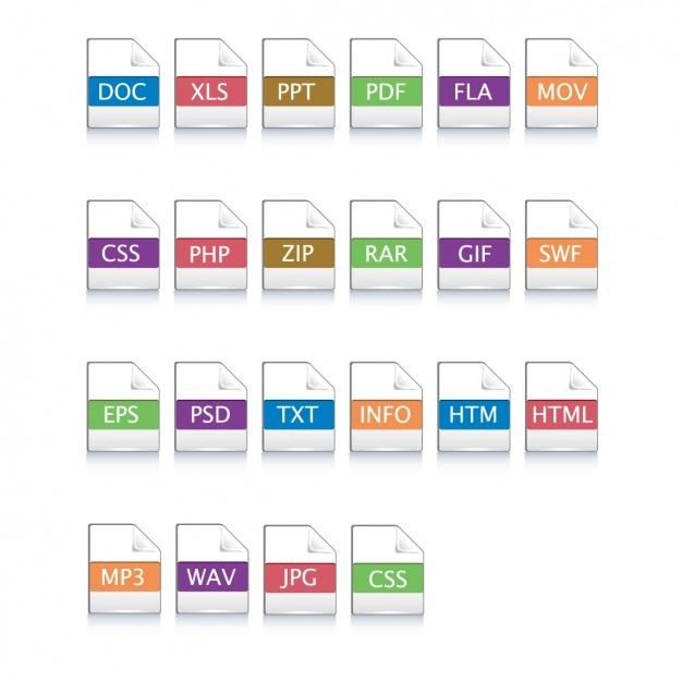 Iconos para diferentes archivos vector gratuito