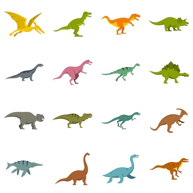 Iconos de dinosaurios en estilo plano Vector Premium