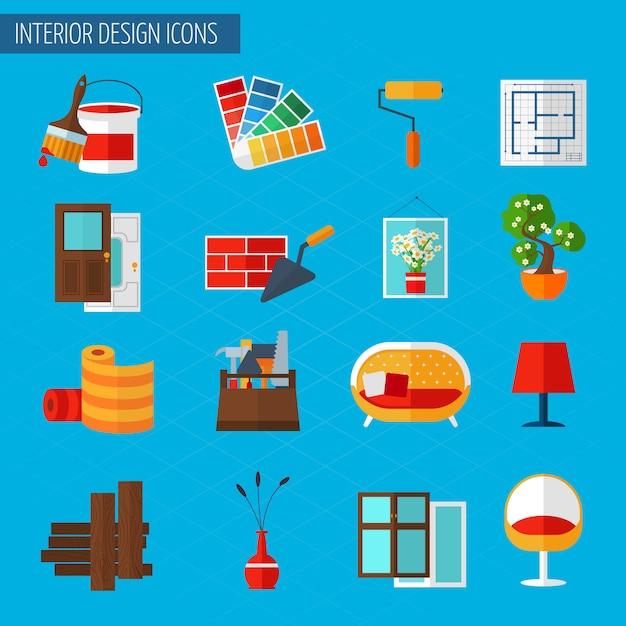 Iconos de diseño de interiores vector gratuito