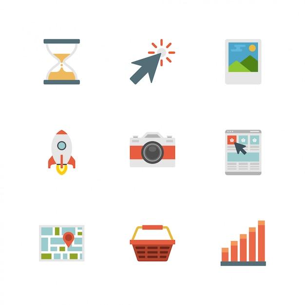 Iconos de diseño plano: cámara, cohete, cursor, temporizador de arena, mapa Vector Premium