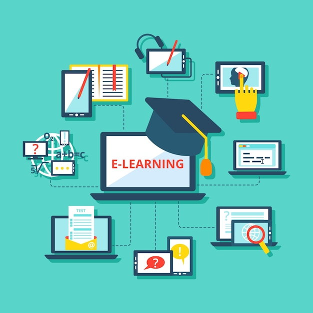 Iconos de e-learning planos vector gratuito