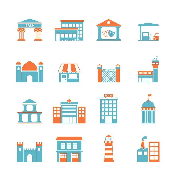 Iconos de edificios gubernamentales vector gratuito