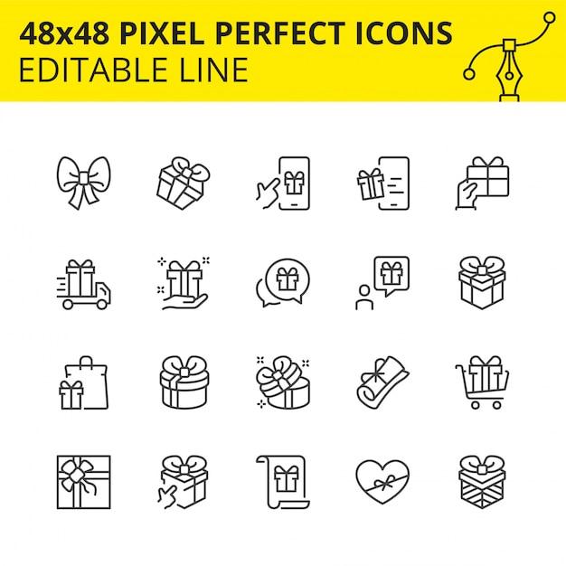 Iconos editables de cajas de regalo y sorpresas. Vector Premium