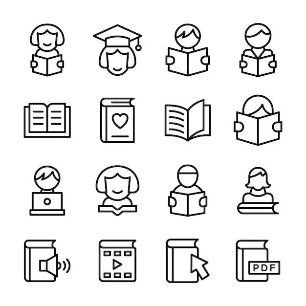 Iconos de educación en paquete de línea Vector Premium