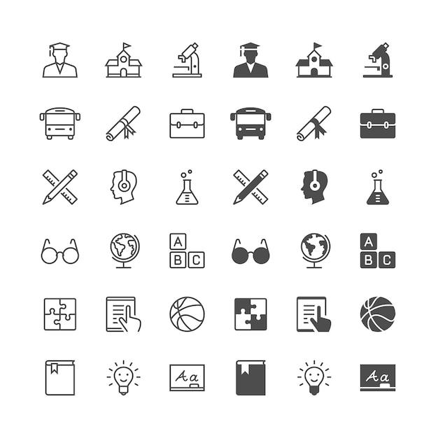 Iconos de educación Vector Premium