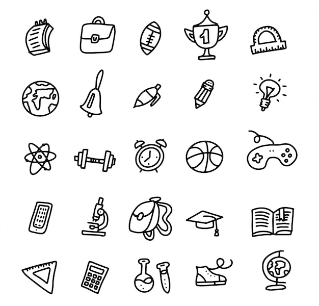 Iconos de la escuela de vuelta a la escuela Vector Premium